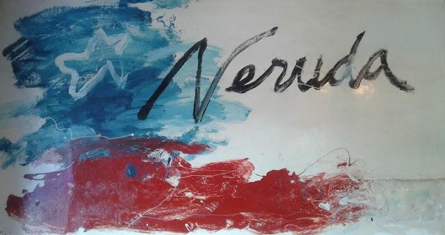 Cuadro con bandera Chilena y firma de Neruda