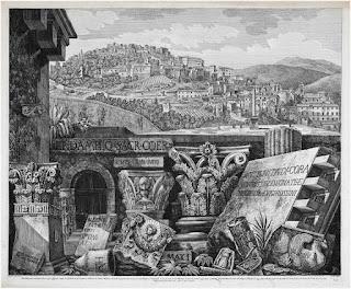 """1. Luigi Rossini Frontespizio della Raccolta """"Antichità di Cora […]"""", 1823 53 × 75 cm, incisione all'acquaforte Collezione Biblioteca dell'Accademia di architettura, Mendrisio"""
