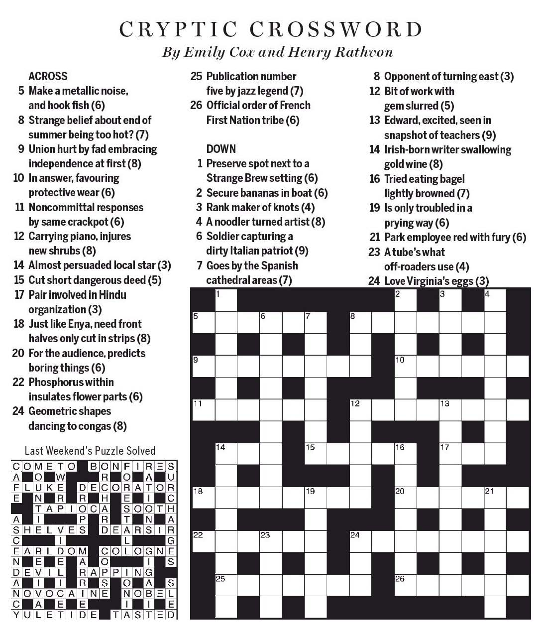 National Post Cryptic Crossword Forum 2017