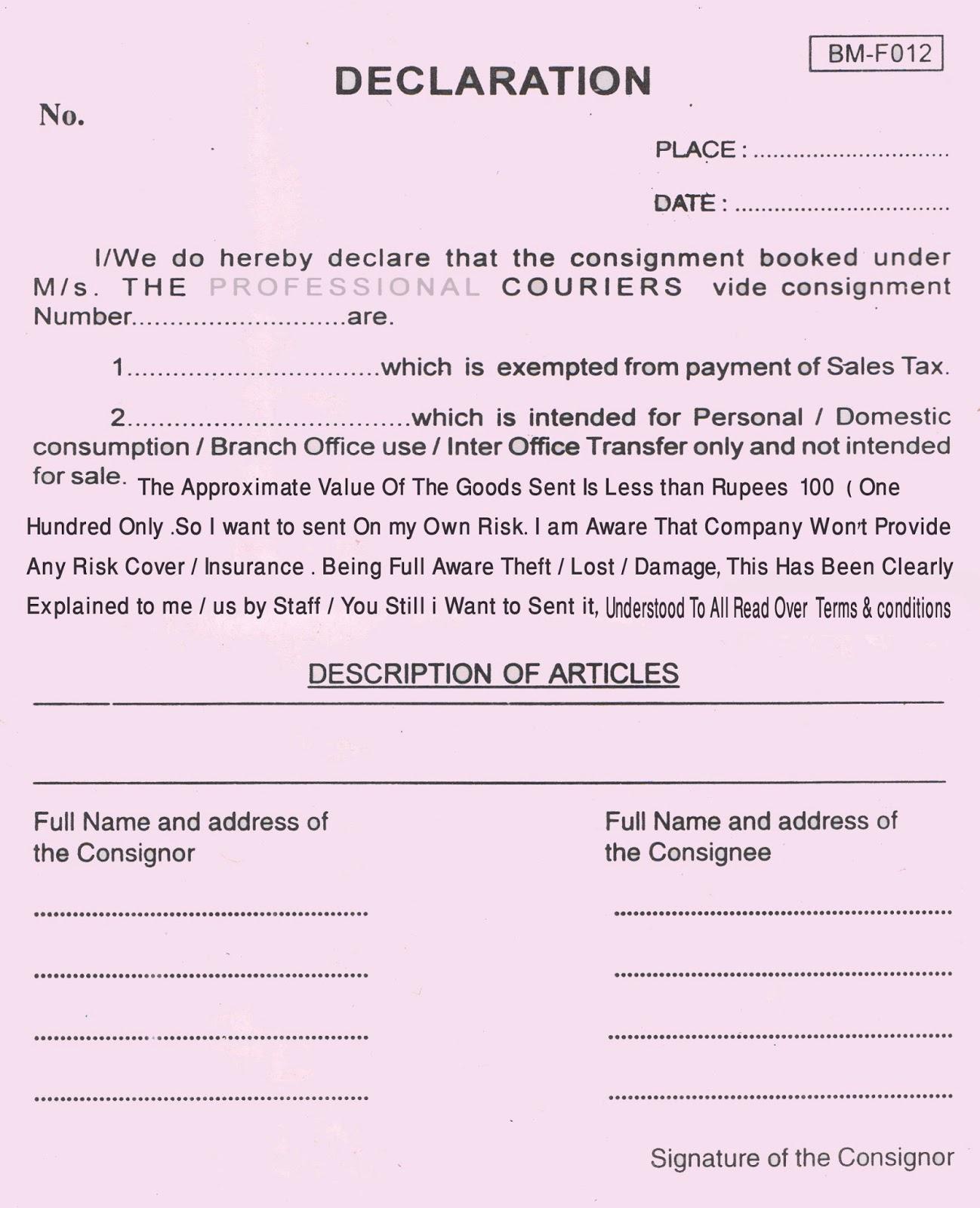 Sle declaration letter format for courier 28 images magnificent popular spiritdancerdesigns Gallery