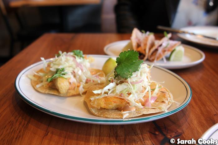 Fish tempura tacos
