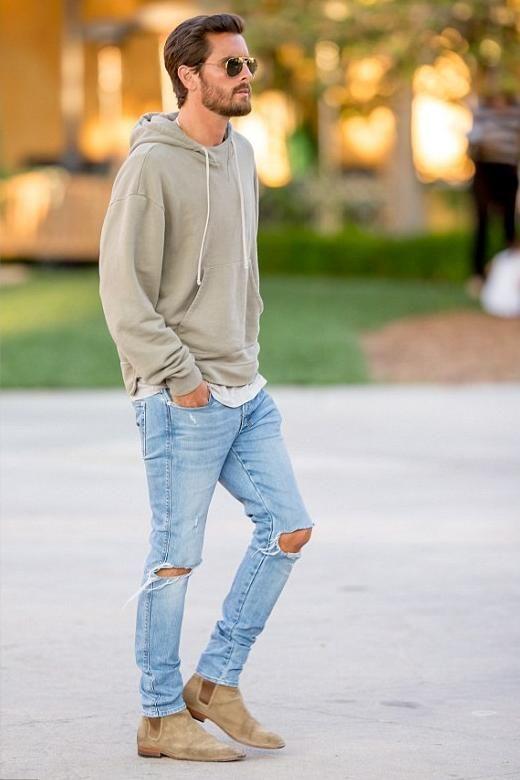 calça destroyed masculina