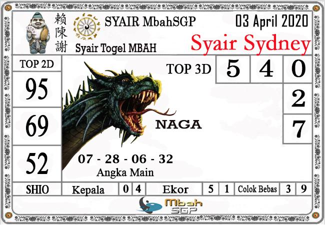 Syair Sidney Jumat 03 April 2020 - Syair Mbah SDY