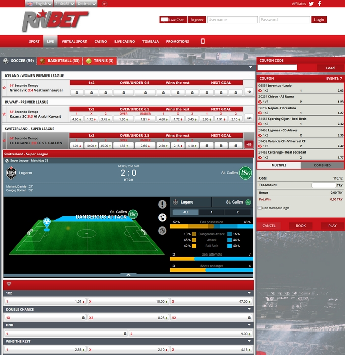 RivBet Live Betting Screen
