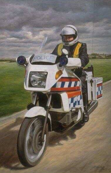 BMW painting oil on canvas by Artist John Allsopp