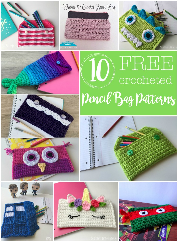 5 Little Monsters: 10 Crocheted Pencil Bags