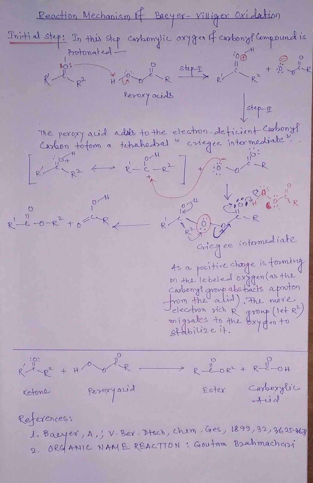 Reaction Mechanism of Baeyer Villiger oxidation