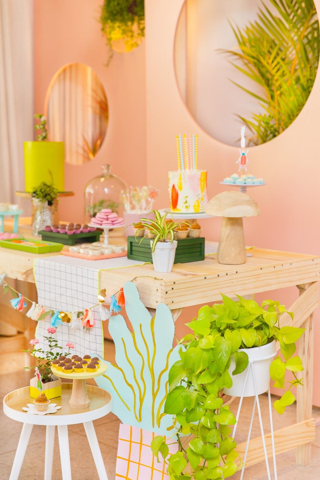 mesa do bolo festa infantil jardim colorida botanica moderna blog do math