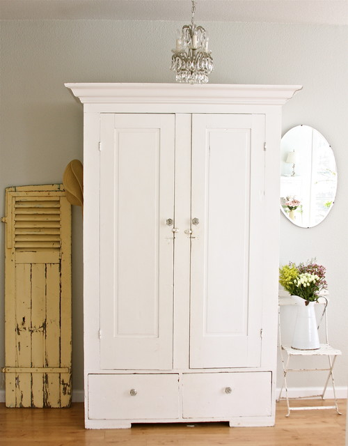 An Antique Wardrobe Becomes The Hallway Closet In This Cottage Style Entryway Image Courtesy Of Dreamy Whites