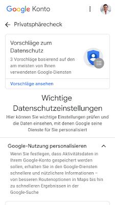 Screenshot des Privatsphärechecks