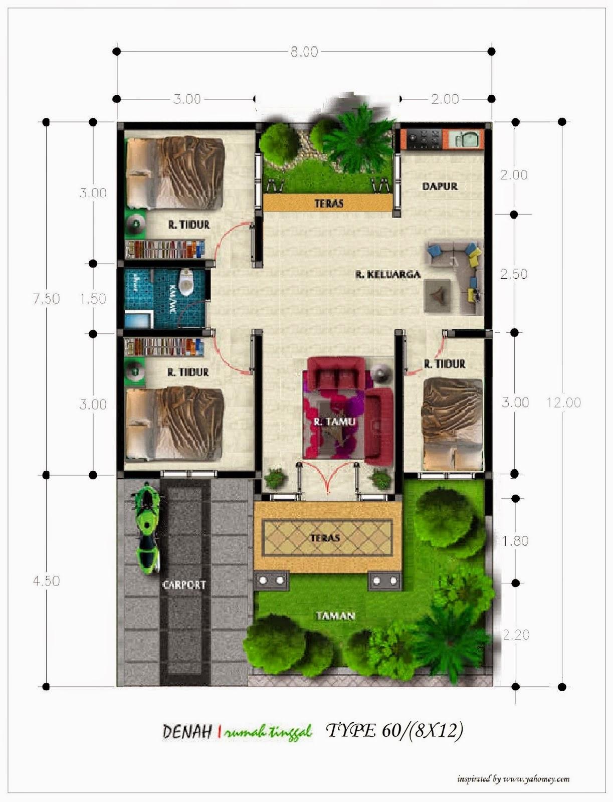 Kumpulan Desain Denah Rumah Minimalis Type 50 | Kumpulan ...