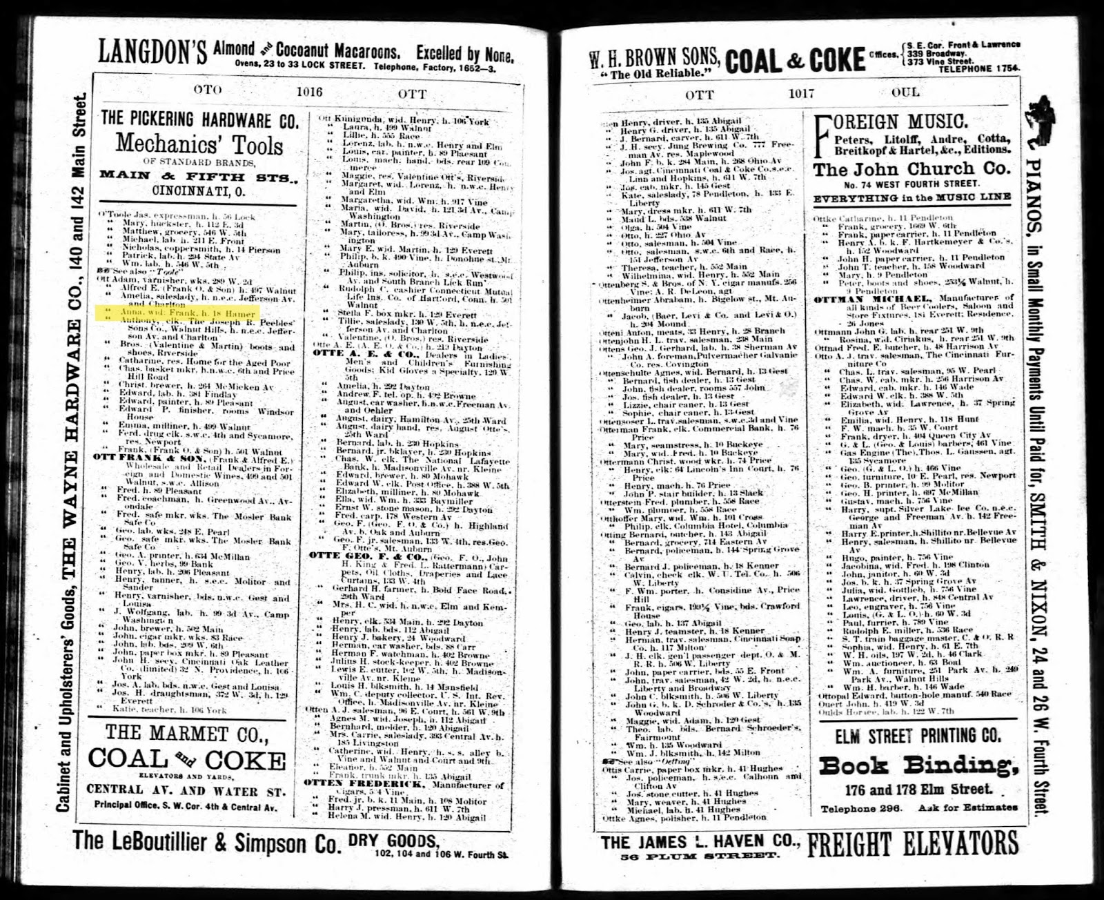 Stephanies genealogy 1889 cincinnati city directory aiddatafo Gallery