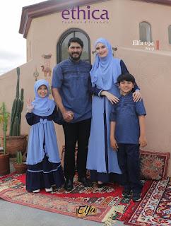 Koleksi Sarimbit Keluarga Ethica lebaran 2021 Terbaru Elfa 194 Navy