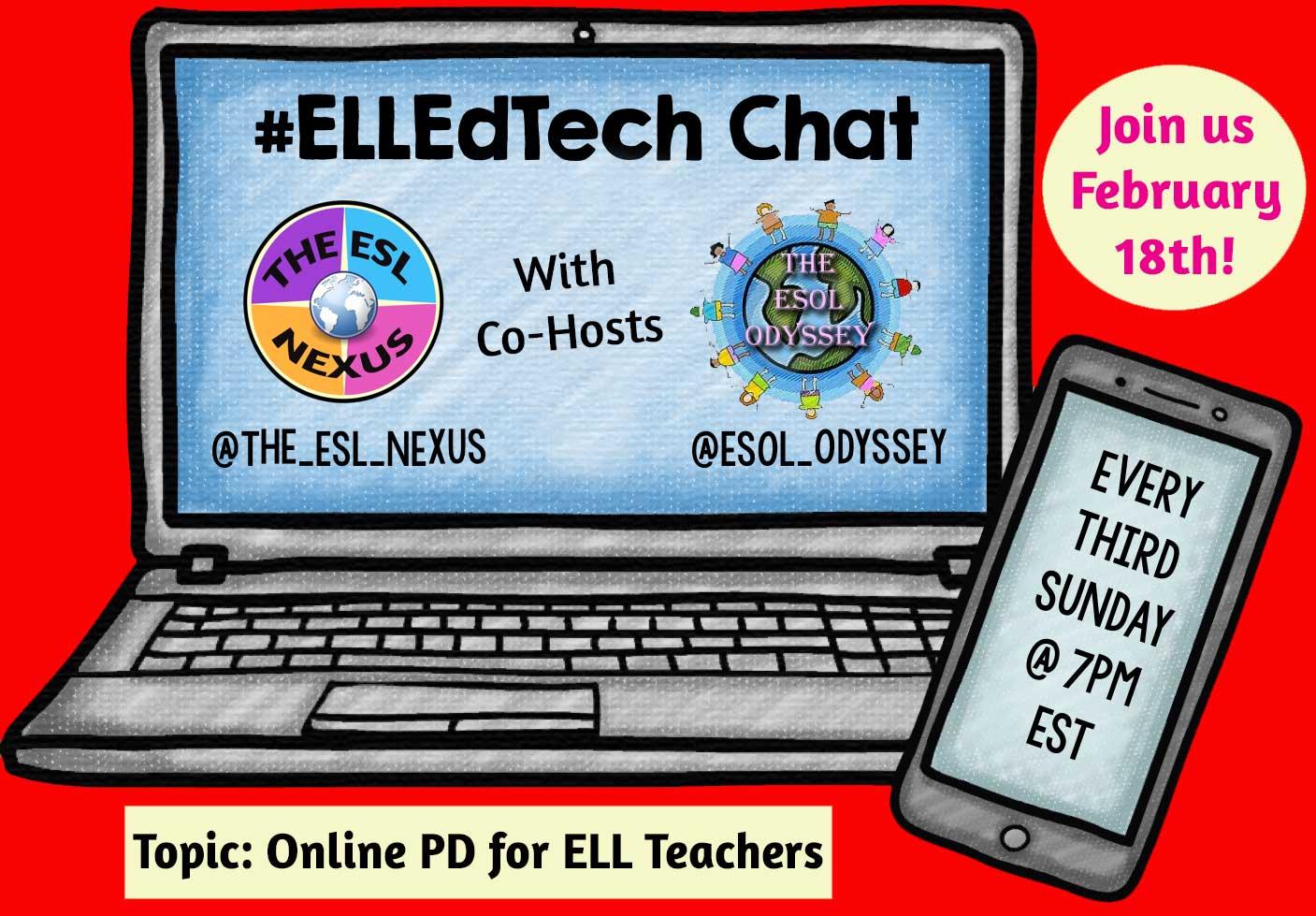 Discover some online sources of PD for teachers of ELLs in the February #ELLEdTech chat on 2/18/18 | The ESL Nexus