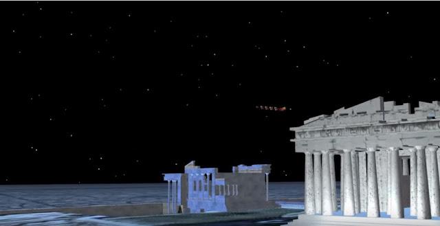 Ο Άγιος Βασίλης πάνω από την Ακρόπολη! Δείτε το ταξίδι του ζωντανά