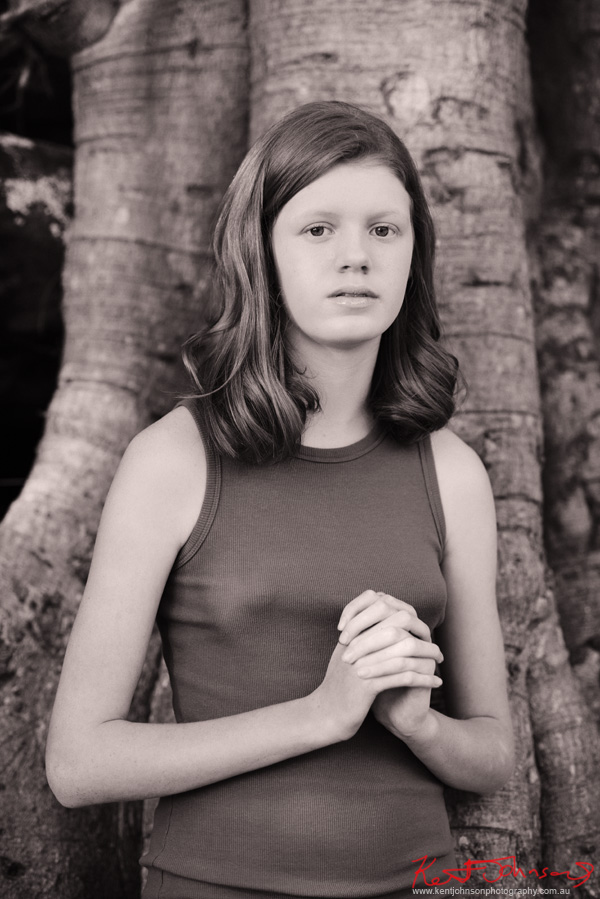 Black and white mid shot portrait for modelling portfolio, Sydney location. Photography by Kent Johnson