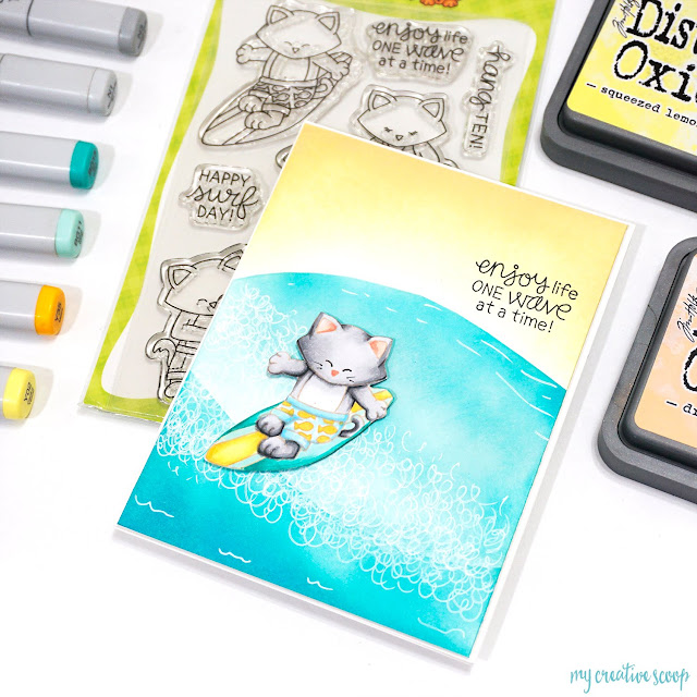 One Wave at a Time Card by August Guest Designer Mindy Baxter | Newton's Perfect Wave Stamp Set by Newton's Nook Designs #newtonsnook #handmade