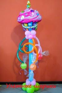 букет из воздушных шаров с тортом на день рождения