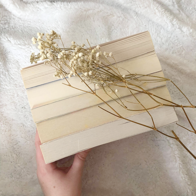 5 books with their spines faced down in a row underneath a dry sprig of baby's breath