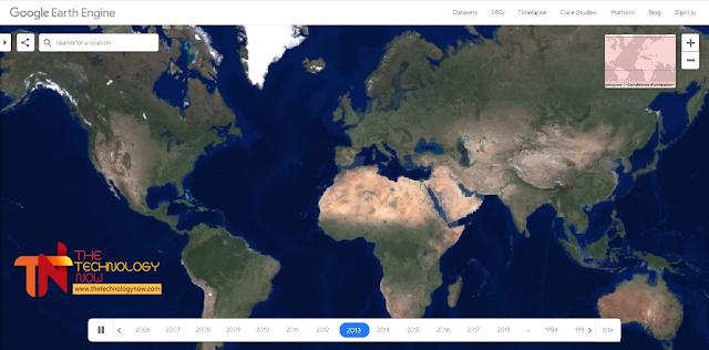 """جوجل عبارة عن شركة تمتلك أشهر و أكبر محرك بحث في العالم على شبكة الأنترنيت، ولديها العديد من المواقع المفيدة و الخدمات و الأدوات الجيدة التي  هي مجهولة لدى بعض المستخدمين بسبب قلة مشاركتها في المحتويات. لذلك قررنا أن نقدم لكم كالعادة في مدونة تكنلوجيا الآن أداة تابعة  لخدمة جوجل  """"earth engine"""" تدعى ب """"Timelapse"""" ، حيث توفر لك إمكانية مشاهدة التطور الجغرافي و العمراني والتمدّن والتغيرات المصاحبة له بالنسبة التاريخ الزمني في كثير من المدن حول العالم."""