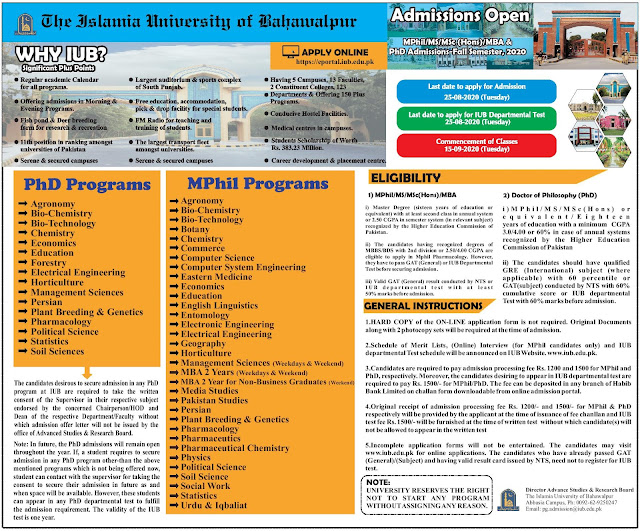 MPhil & PhD Admission Fall-2020 In The Islamia University of Bahawalpur