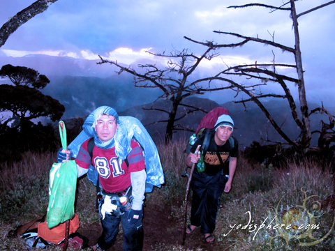 Two mountaineers walking at the freezing grassland on the Akiki trail going to Mt. Pulag