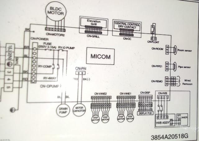 Электросхема LG T54LH внутренний блок
