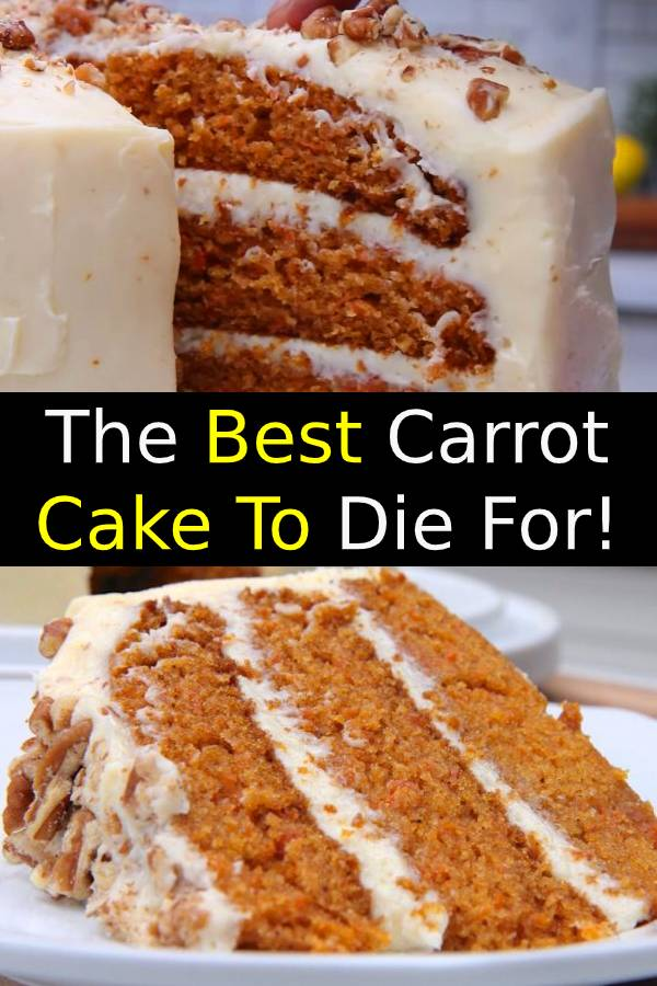 Truly the BEST CARROT CAKE you'll ever try! So easy to make and as an added bonus, there's no oil or butter! I know this cake will quickly become a family favorite! #carrotcake #cake #cakerecipe #dessert #easycake