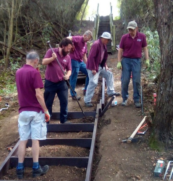 Work on the staircase on North Mymms footpath 11 Image courtesy of John Hall