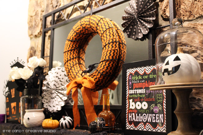 halloween mantel decorations, pumpkins, halloween wreath, halloween art