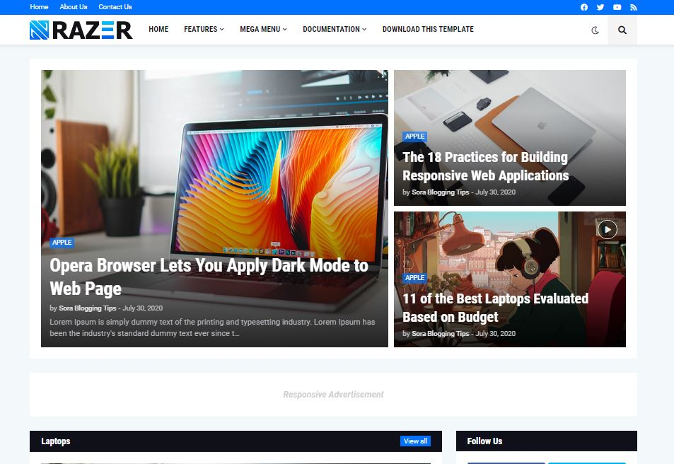 Razer  Premium free Blogger Template