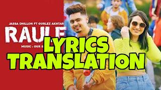 Raule Lyrics in English | With Translation | – Jassa Dhillon
