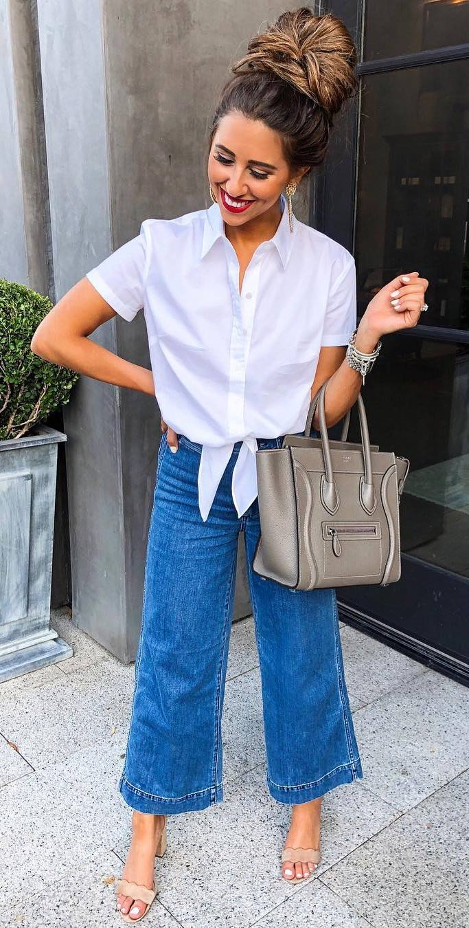fashion trends / white shirt + wide jeans + grey bag + heels