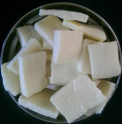 Cut paneer as squares