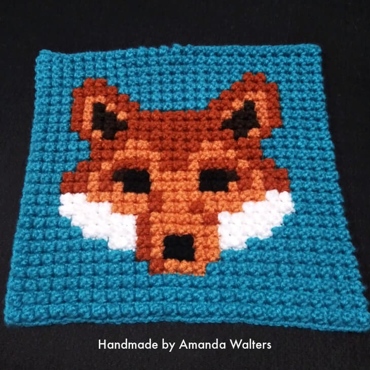 Bobble Fox Crochet Block