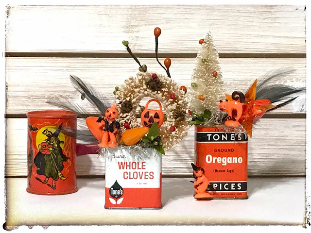 Vintage Halloween Spice Tin Decorations by Thistle Thicket Studio. www.thistlethicketstudio.com