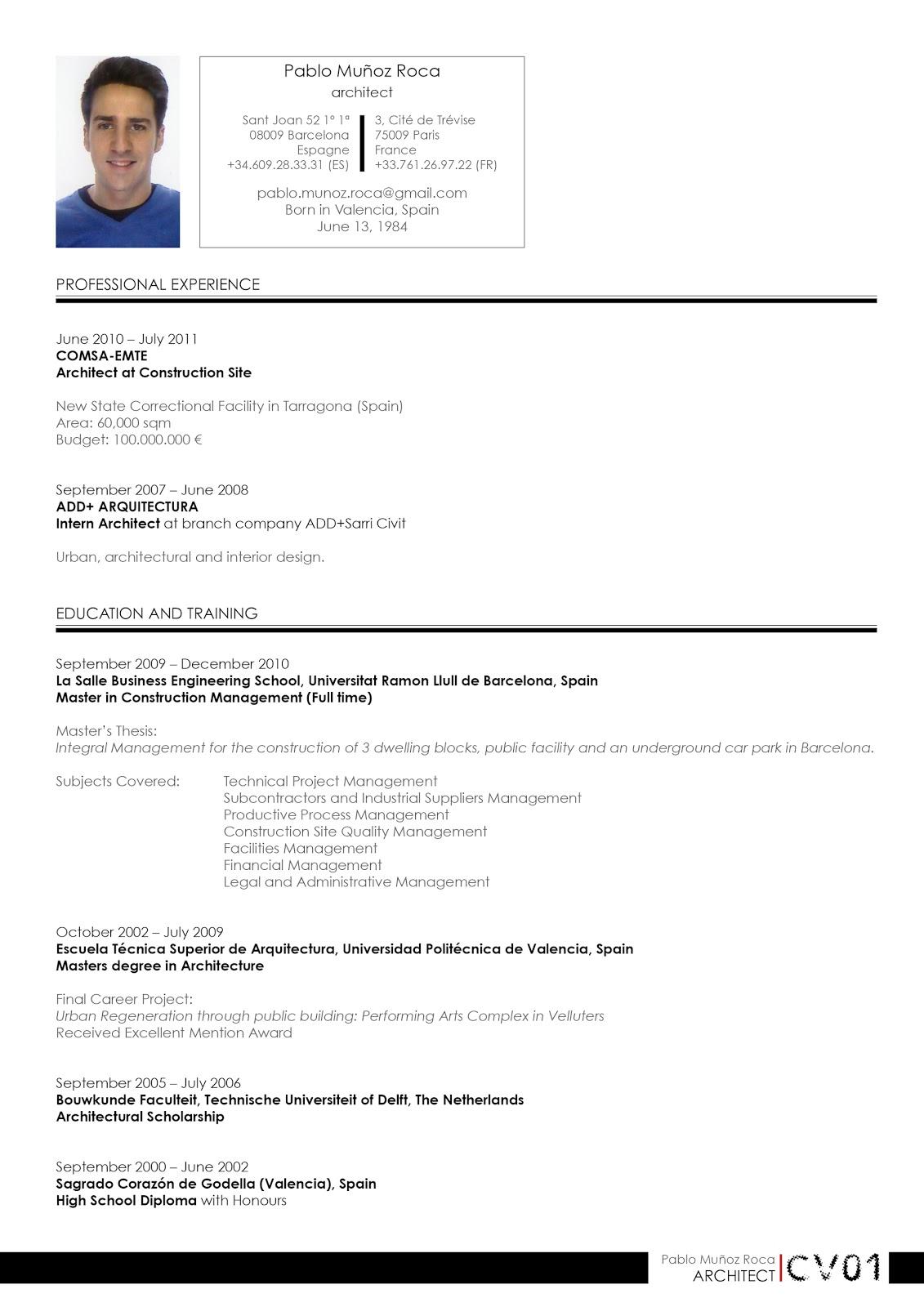 Pablo Munoz Roca 00 Curriculum Vitae