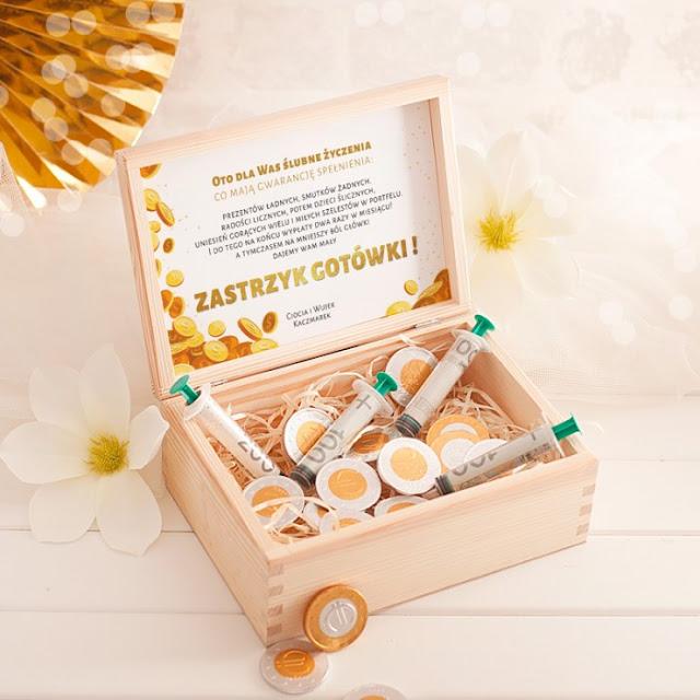 ZASTRZYK gotówki prezent dla Młodej Pary monety i strzykawki