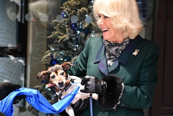 The Duchess of Cornwall is patron of the charity Battersea. Battersea introduced online puppy training classes. The Duchess wore a green wool coat