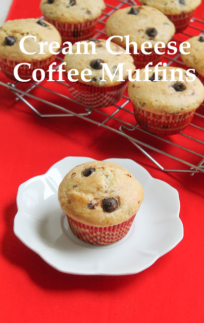 Food Lust People Love: Cream cheese coffee muffins are made with espresso granules for great coffee flavor but even better, they have espresso morsels, my new favorite chip! These muffins are the perfect breakfast or snack time treat. Serve them with a cup of coffee, tea or a cold glass of milk.