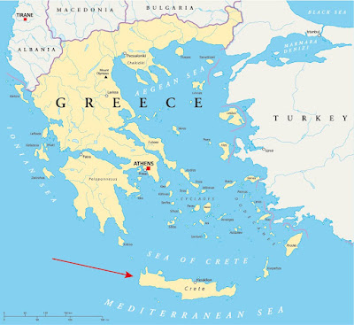Map of Greece and Crete