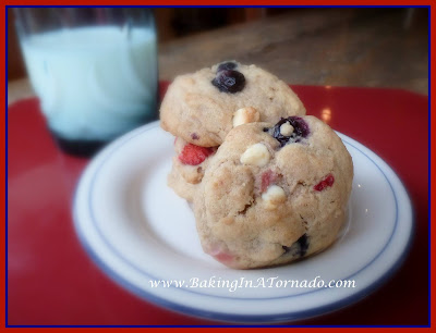 Red White and Blueberry Cookies   recipe developed by www.BakingInATornado.com   #recipe #cookies