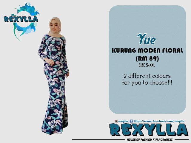 rexylla, baju kurung, kurung moden, floral, yue collection