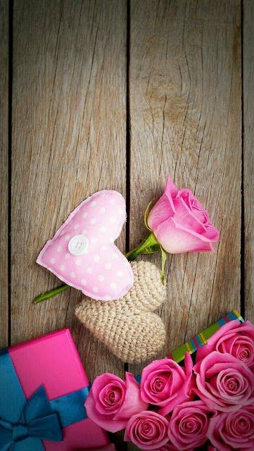 pink flowers images with love message, loving hearts backgrounds