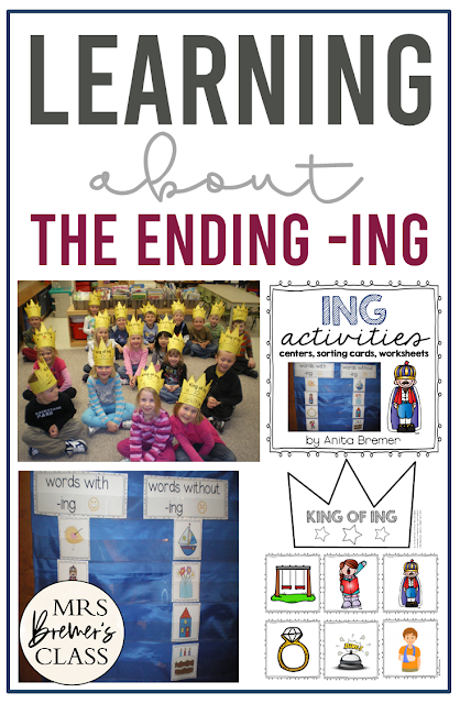 ING literacy spelling and word work activities to teach about the ending ing featuring the King of ING for Kindergarten and First Grade