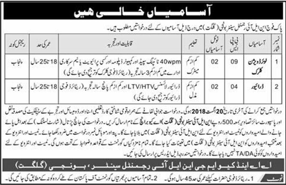 Pak Army Jobs At Nli Regimental Center Gilgit July 2018 Pak Govt