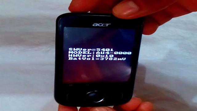 Acer beTouch Pantalla en negro con las letras en blanco