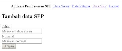 Form tambah data spp aplikasi pembayaran spp