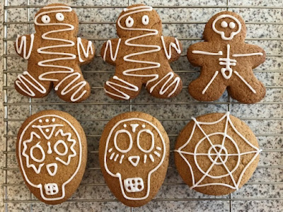 Iced Halloween themed gingerbread biscuits