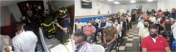 Bomberos fueron llamados para dispersar masivo acto en local del  PRM en El Bronx  alegando violaba distancia social